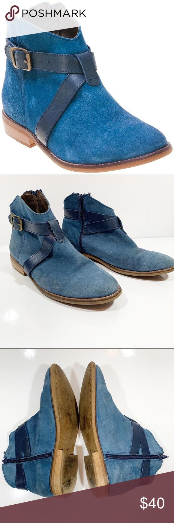 Miz Mooz Blue Ankle Boot Miro Bootie Suede Leather Miz Mooz Miro Blue Leather An…