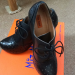 Miz Mooz - Lesley - Size 8  Black Black with silver perforations   Tie in the fr...