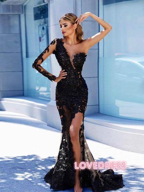 Modern Black Lace One-Shoulder Prom Dress Front Split Evening Gown