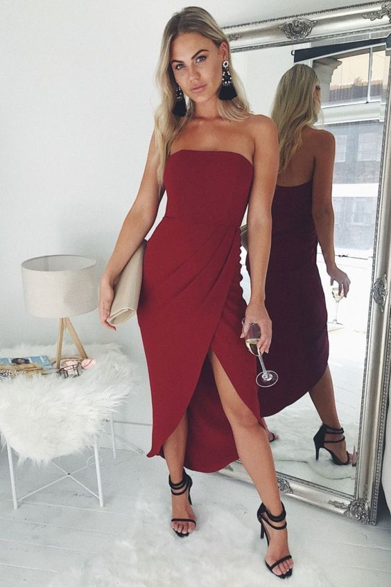 Modest Burgundy Prom Dress , Charming Prom Dress With Slit