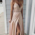 Modest Spaghetti Straps Long V-Neck Open Back Pink Beading Prom