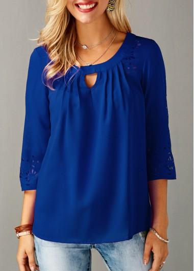 Modlily Women's 3/4 Sleeve Keyhole Royal Blue Fashion Tunic Top Keyhole Neckline Laser Cut Royal Blue Blouse