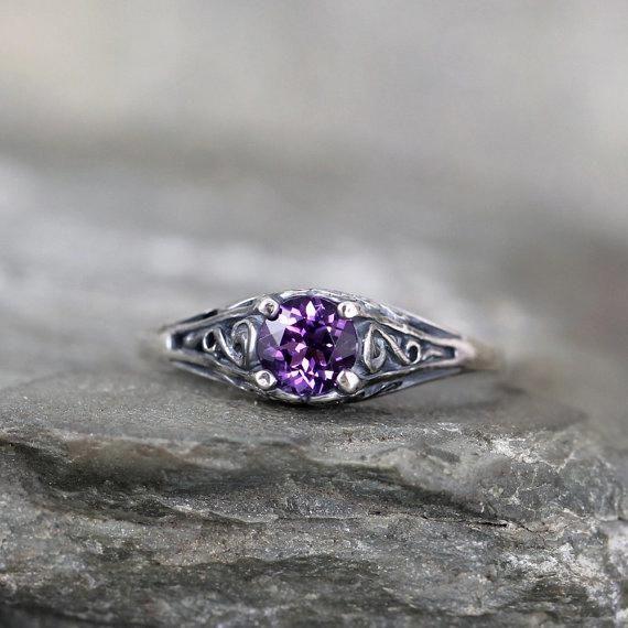 Moissanite Petal Engagement Ring 14K White Gold Petal Ring Unique Moissanite Engagement Ring