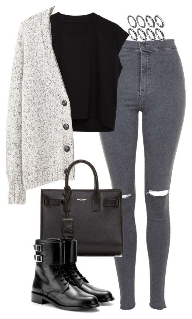 Monochrome layered fall / autumn outfit street style with grey jeans and black a…
