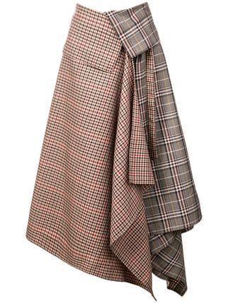 Monse Patchwork Plaid Asymmetric Skirt