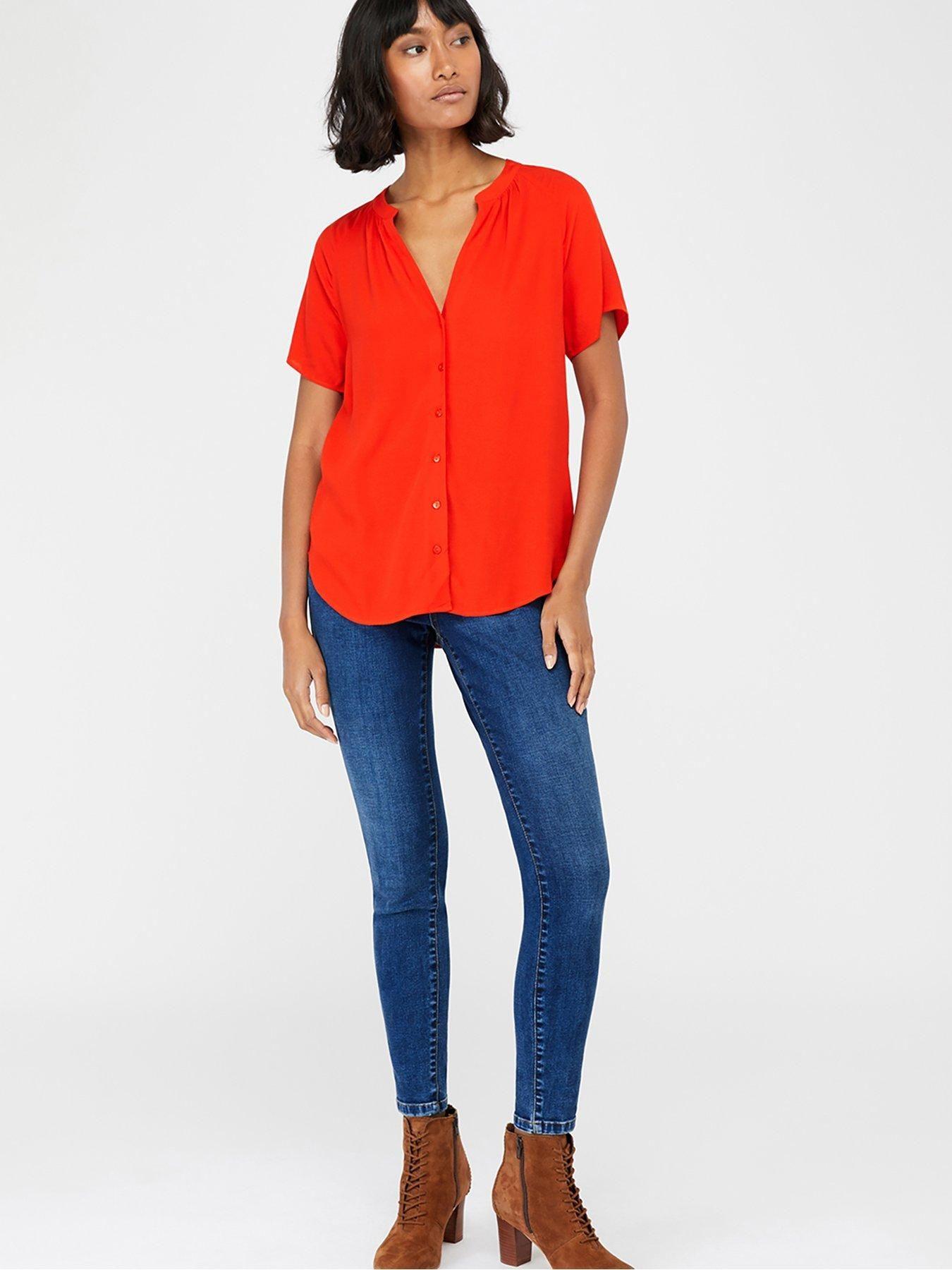 Monsoon Monsoon Zinnia Short Sleeve Blouse, Red, Size 22, Women – Red – 22