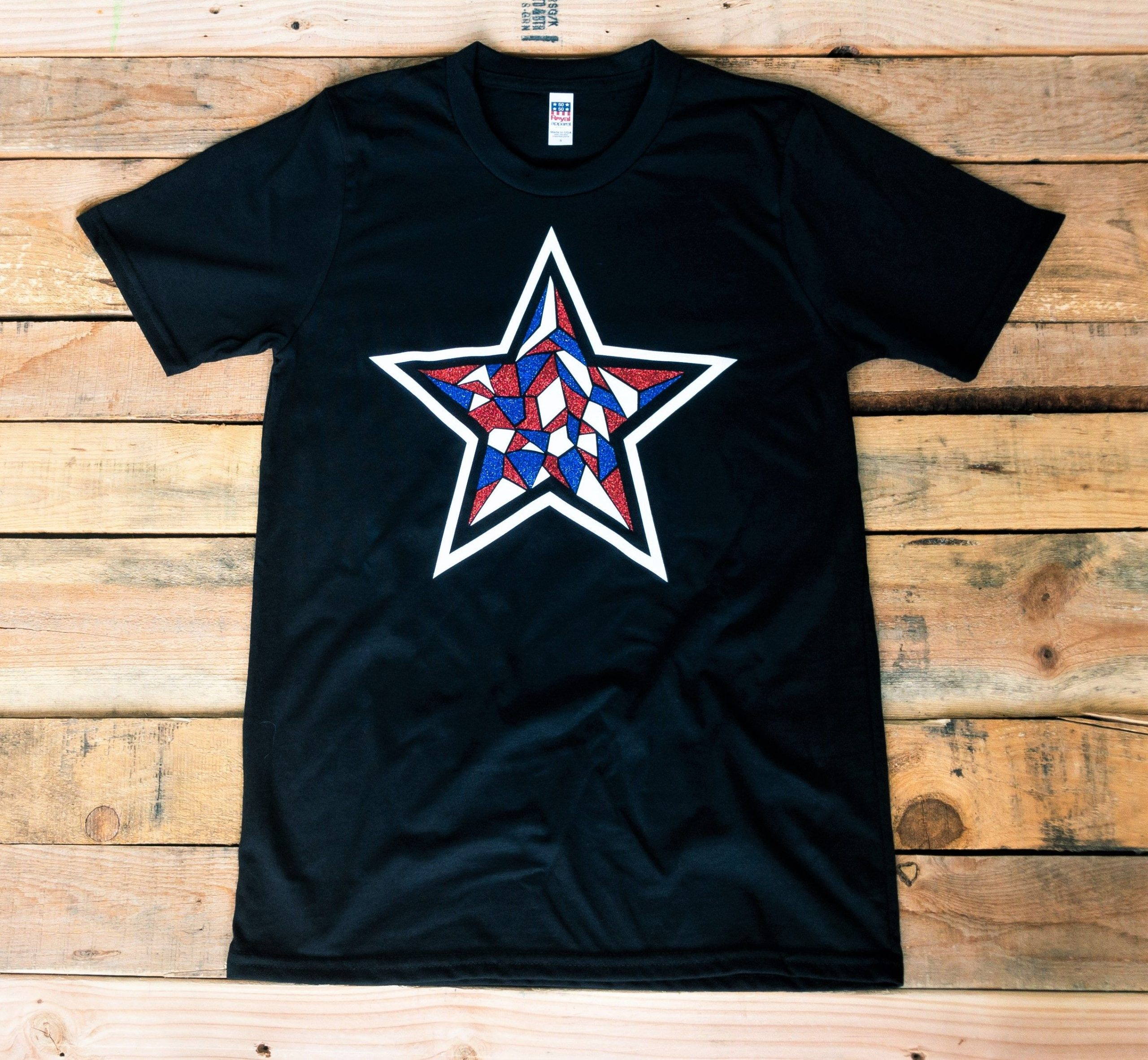 Mosaic Glitter Star Tee, Mosaic Star T-Shirt, 4th of July Women's T-Shirt