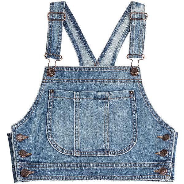Moschino Denim Crop Top ($220) found on Polyvore featuring women's fashion, tops…