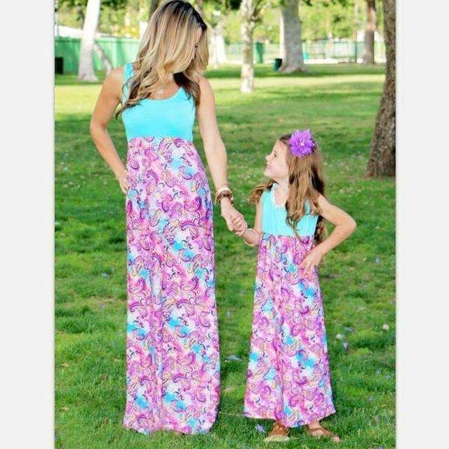 Mother Daughter Matching Summer Maxi Dresses like pic / XXXL