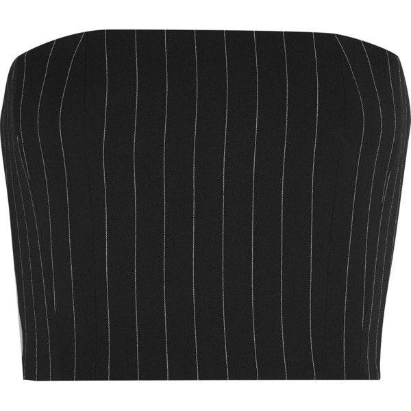 Mugler Mugler – Pinstriped Wool-blend Twill Bustier Top – Black (10.925 UYU) ❤…