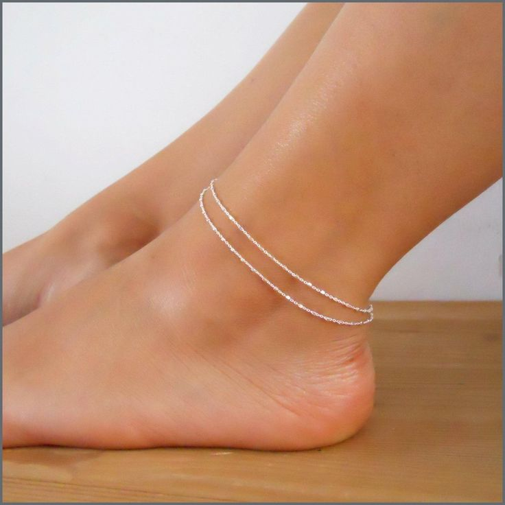 Multi Standard Silver Chain Anklet With Tiny Squares (A830)