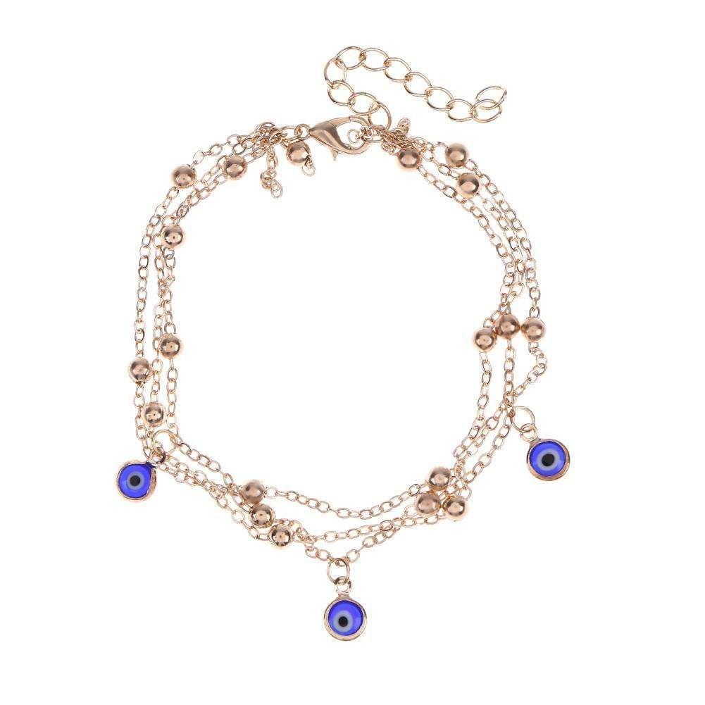 Multilayer Women Blue Eye Anklet Leg Bracelet Casual Beach Ankle Chain/Gold