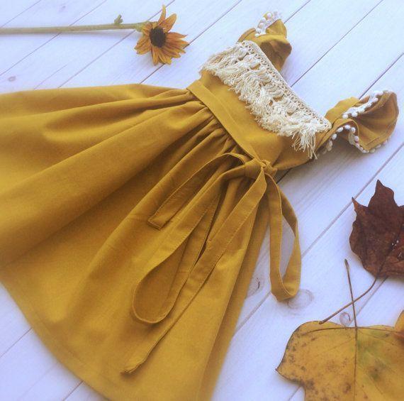 Mustard Fringe Dress – fringe dress – fringe boho dress – fringe toddler dress -baby girl dress – mustard girls dress – boho toddler dress