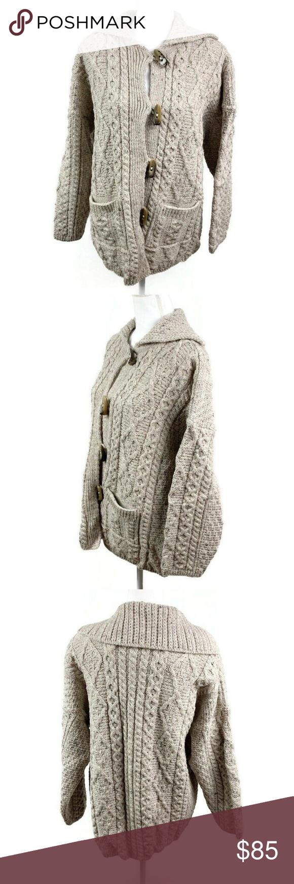 NEW Connemara Made In Ireland Cable Knit Cardigan Connemara Knitwear Women's L L…