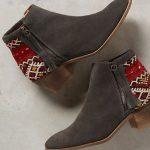 NIB! Anthropologie Howsty Tahirah Kilim Booties Boots Grey Suede 41 9 9.5 $245  | eBay