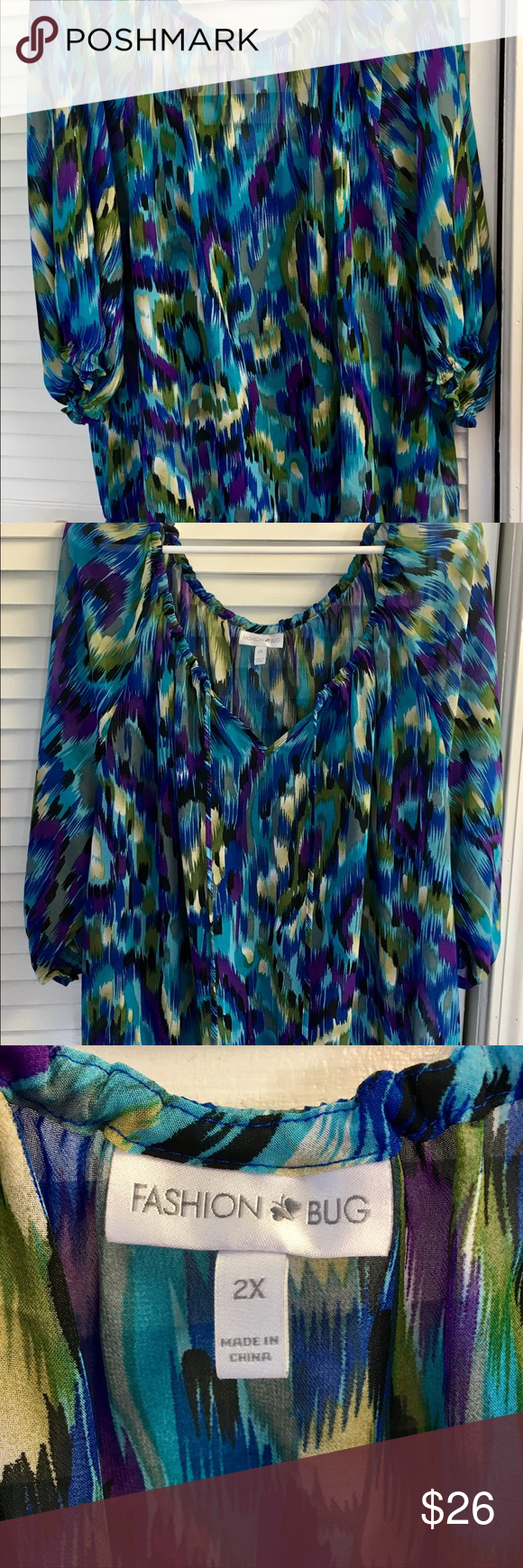 NWOT Blue Purple Fashion Bug Peacock Plus Size Top NWOT Blue Purple Fashion Bug …