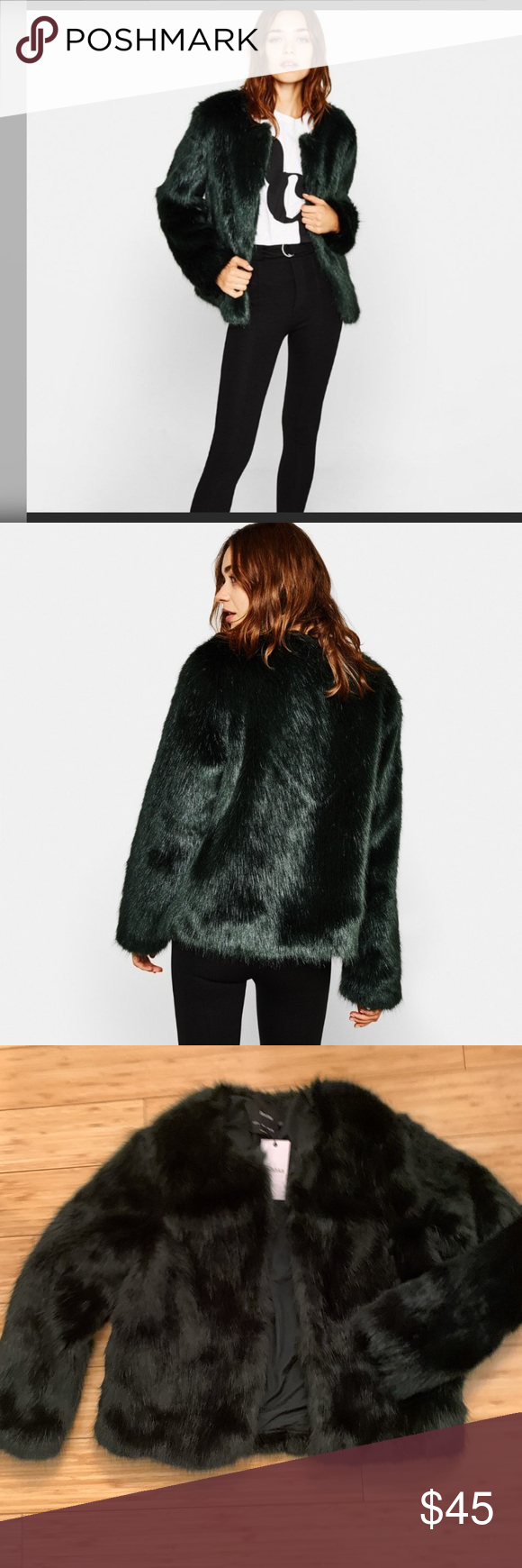 NWT Bershka Green Faux Fur Coat This gorgeous on trend NWT faux fur coat in exce…