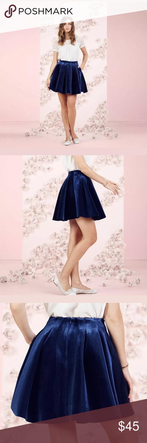 NWT LC Lauren Conrad Blue Velvet Skirt Runway NWT LC Lauren Conrad Blue Velvet S…
