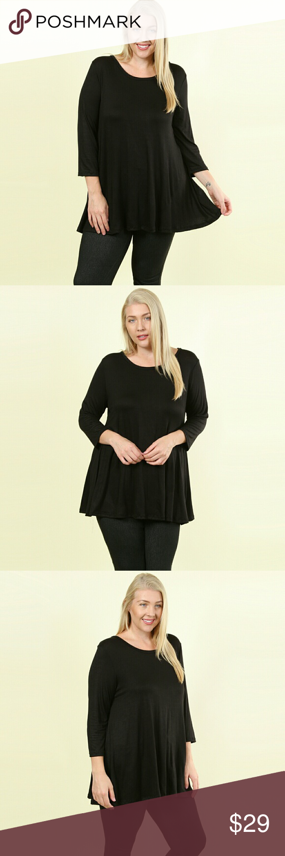 NWT Solona PLUS Essential Tunic A wardrobe must! Solid black, lightweight rayon …