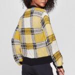 NWT WHO WHAT WEAR yellow plaid cardigan M NWT WHO WHAT WEAR yellow & black plaid...