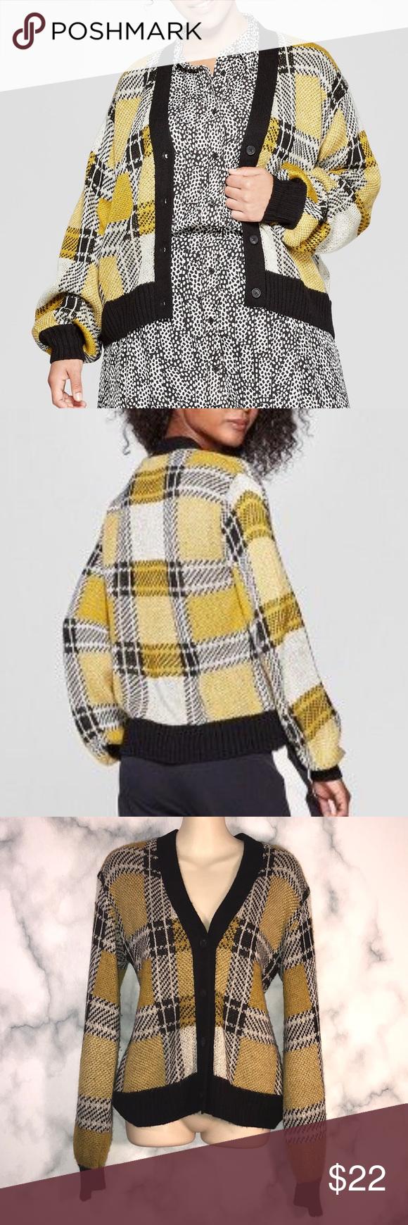 NWT WHO WHAT WEAR yellow plaid cardigan M NWT WHO WHAT WEAR yellow & black plaid…