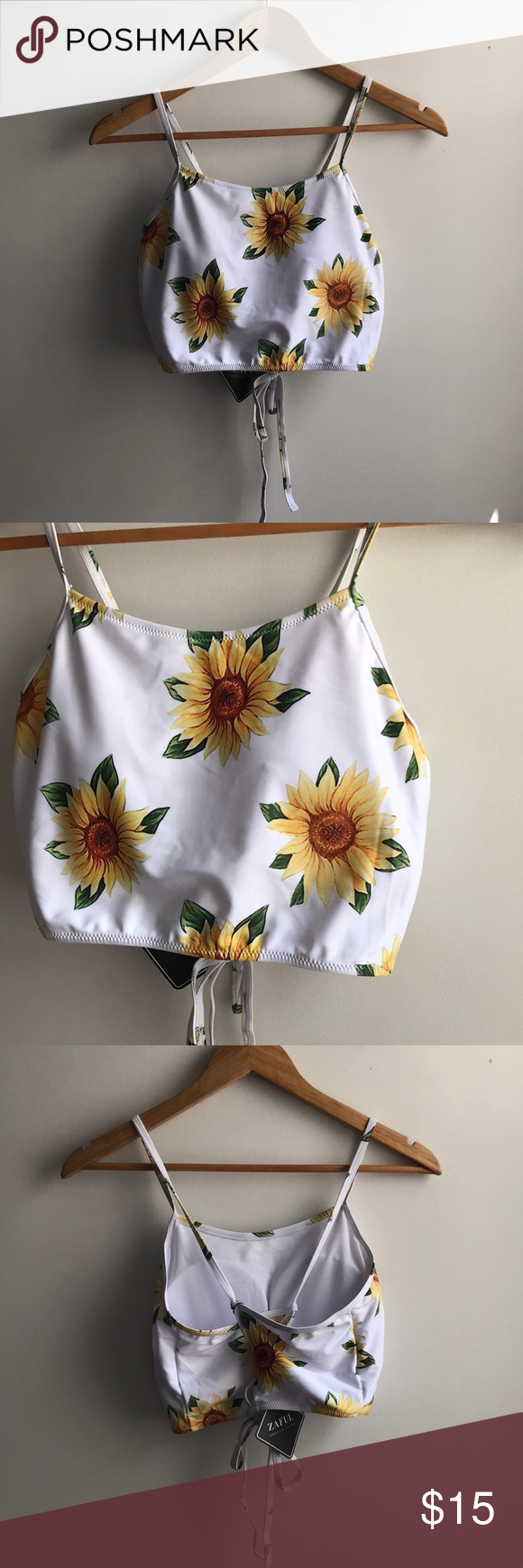 NWT Zaful white yellow sunflower tankini swim top Brand new – I have the bottoms…