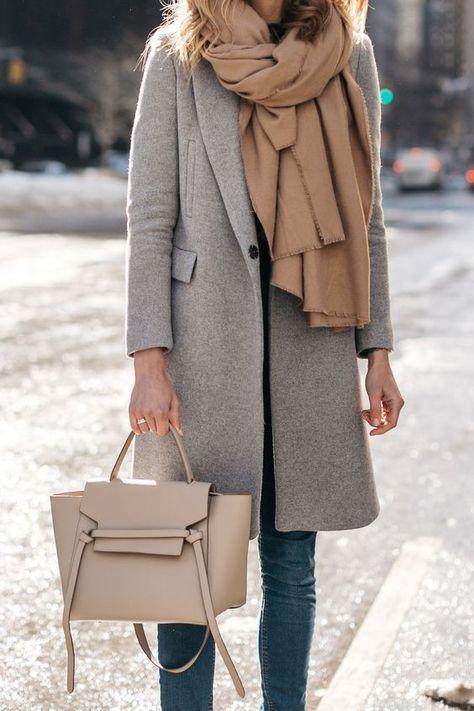 NYFW Fall/Winter 2017, Street Style, Grey Coat, Tan Blanket Scarf, Denim Skinny …