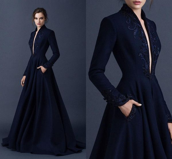 Navy Blue Satin Evening Dresses Embroidery Paolo Sebastian Dresses Custom Made Beaded Formal Party Wear Ball Gown Plunging V Neck Ball Gowns Ball Dresses Dresses Uk From Standbymebride, $120.7| DHgate.Com
