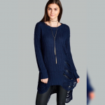 Navy Knit Frayed Long Tunic Sweater Coming ❣️Navy Knit Frayed Long Tunic Swe...
