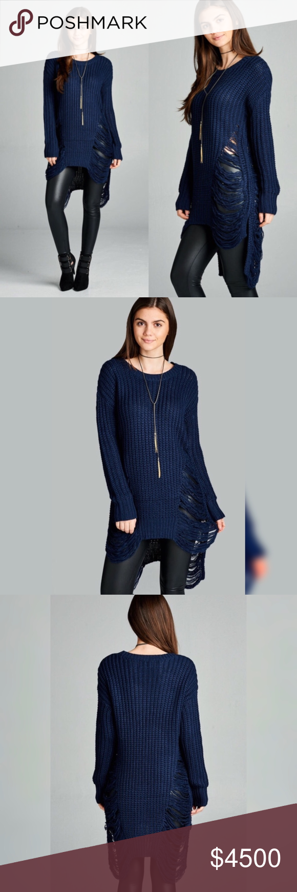 Navy Knit Frayed Long Tunic Sweater Coming ❣️Navy Knit Frayed Long Tunic Swe…