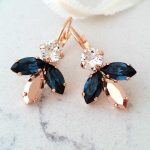 Navy blue earrings,Bridal earrings,Rose gold earrings,Bridesmaids gift,blue rose gold earrings,Blue