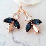 Navy blue earrings,Bridal earrings,Rose gold earrings,Bridesmaids gift,blue rose gold earrings,Blue