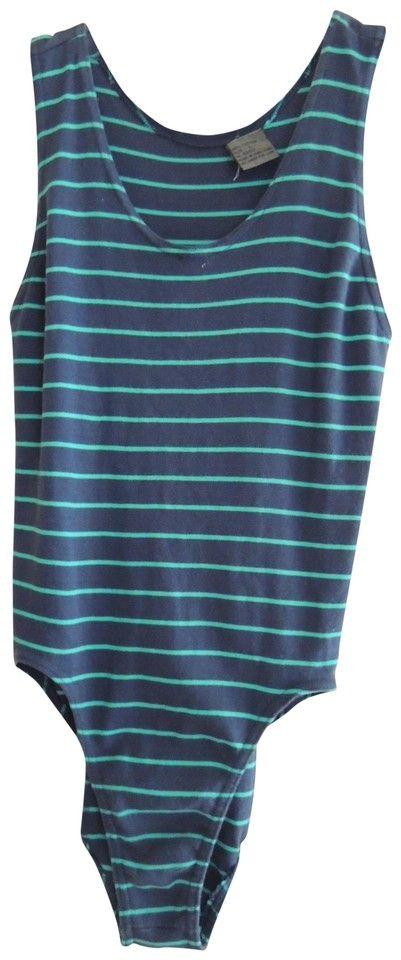 Navy with Jade Green Stripes Ladies Leotard Sleeveless Hi Cut Leg Bodysuit Activewear Top Size 12 (L)