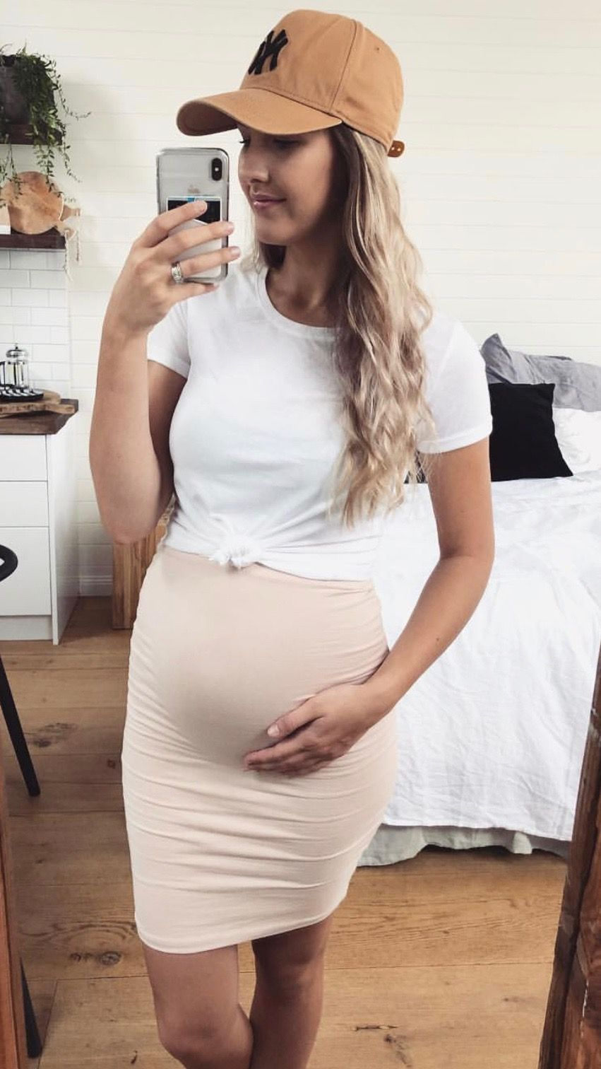 Neutral Over the Belly Skirt
