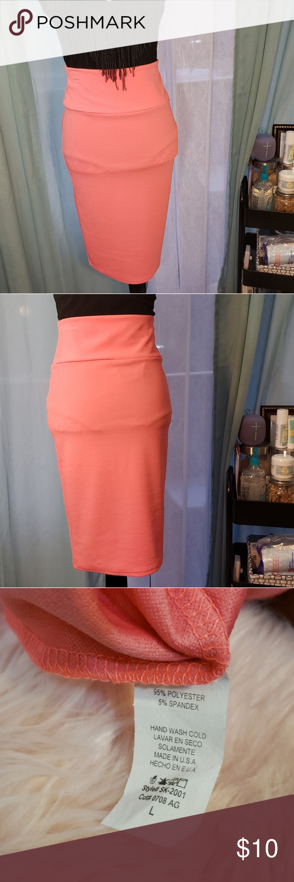 Never Worn High Waist Stretch Pencil Skirt This salmon colored pencil skirt is a…