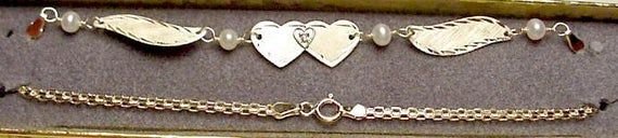 New 14kt Solid White Gold Winged 10″ Anklet w/DIA Heart -Free Shipping!