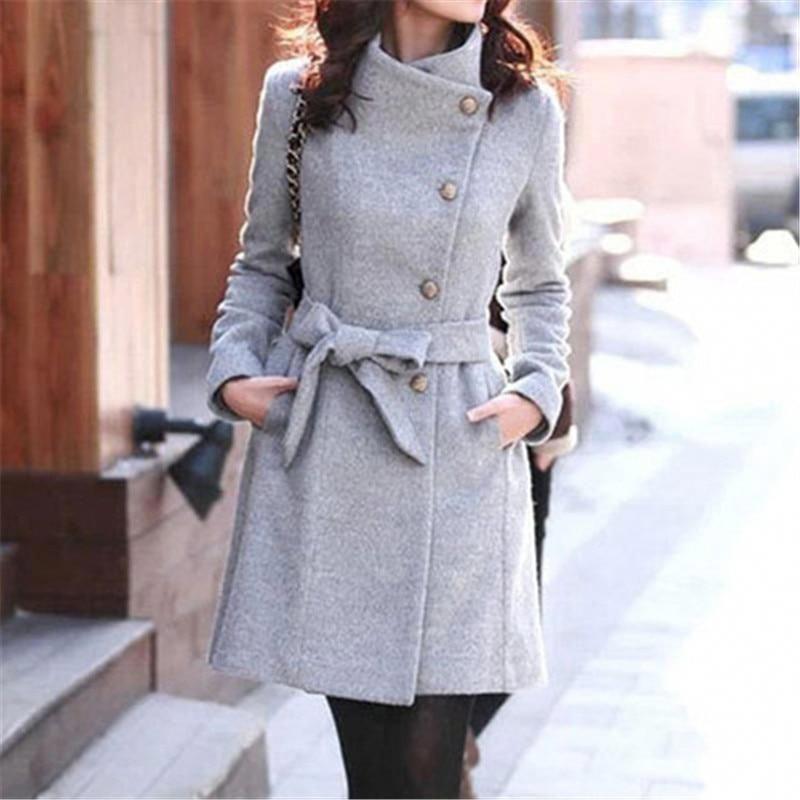 New 2019 Clothing Fashion Slim Streetwear Casual Belt Coat Windbreaker Elegant Women Toyouth Long Wool Coat