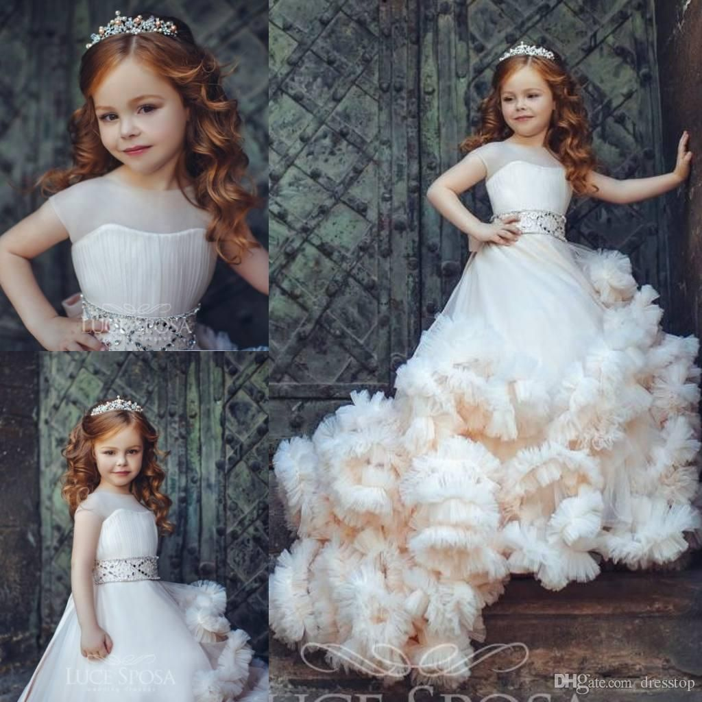 New Arrival Ruffled Flower Girl Dresses Special Occasion For Weddings Pleated Kids Pageant Gowns Ball Gown Tulle First Communion Dress