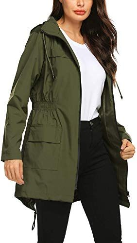 New Avoogue Women Raincoat Waterproof Windbreaker Lined Rain Jacket Lightweight Trench Coats S-XXL online