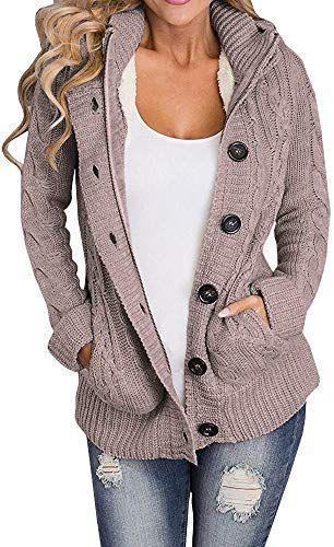 New Ermonn Women Unisex Zipper Button Down Knitted Sweater Cardigans Hooded Jackets online