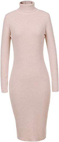 New GLOSTORY Women's Long Sleeve Fall Winter Turtleneck Sweater Dress Mid Knee Length Slim Fitted Bodycon Dresses 7628 online