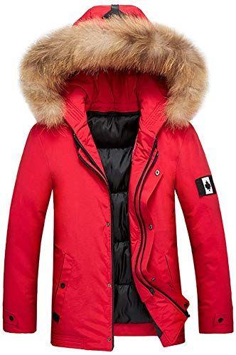New IZHH Mens Parka Jacket Down Coat Hood Slim Zip Hoodie Winter Coat Outwear online