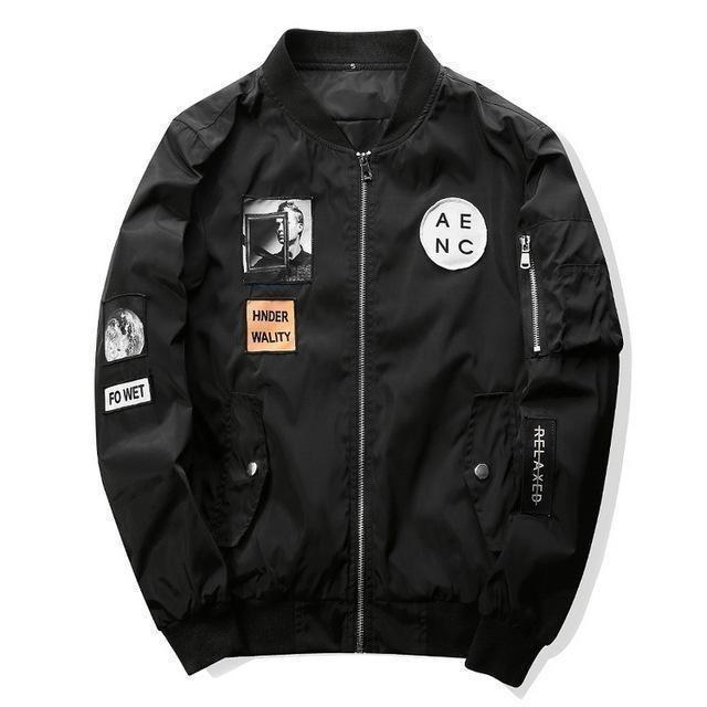 New Men Bomber Jacket Hip Hop Patch Design Slim Fit Gray / M