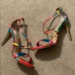 New Multi Color Steve Madden Strap Heel Size 10M Open toe Crisscross straps Ankl...