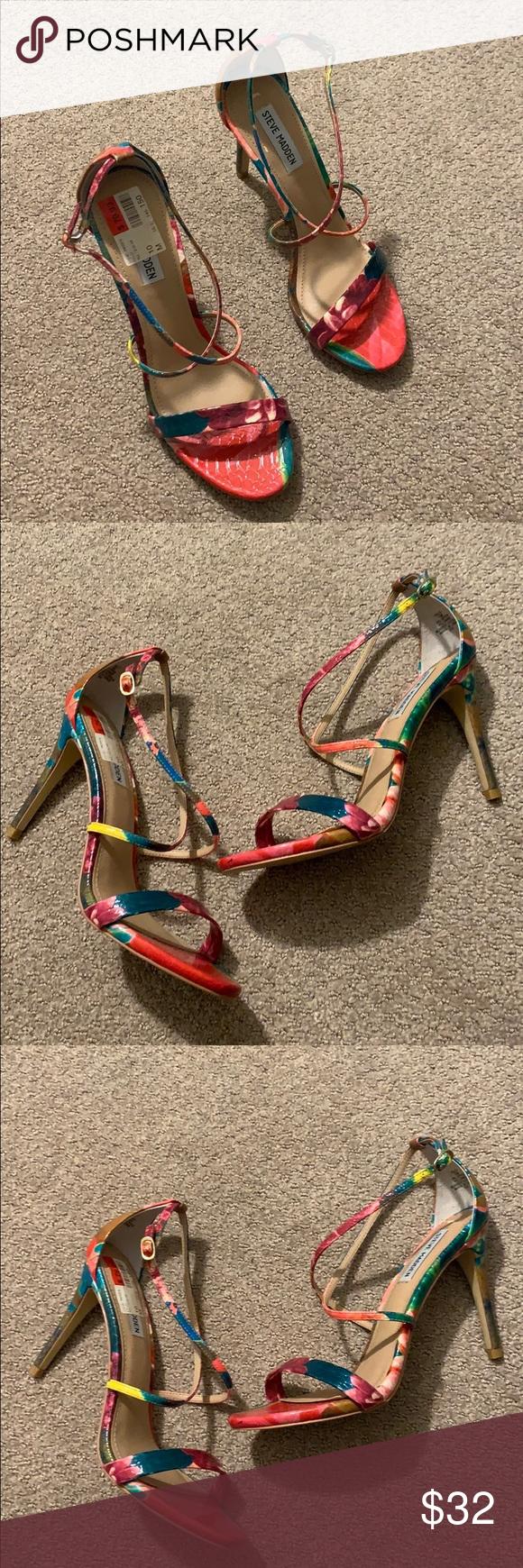 New Multi Color Steve Madden Strap Heel Size 10M Open toe Crisscross straps Ankl…