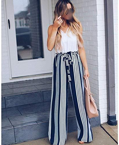 New ar-wt Wide Leg Pants Women High Waist Striped lace Loose Palazzo Pants Elegant Office Ladies Trousers online shopping