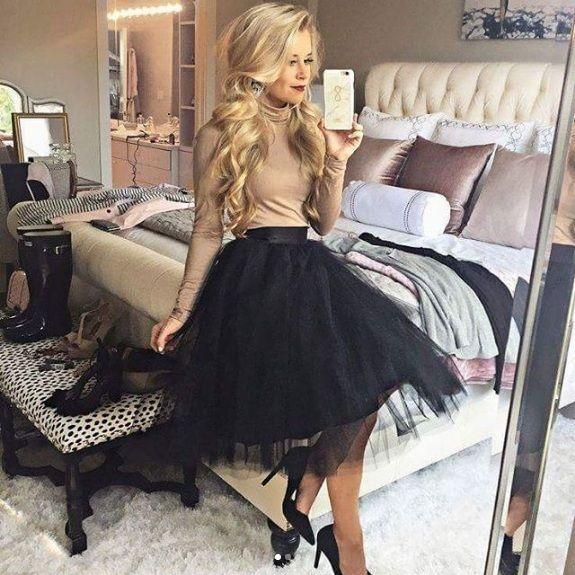 New black luxurious 6 layers tulle women skirt tutu midi knee length full circle