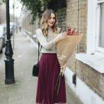 New burgundy pleated high waist women skirt wine red midi length autumn winter