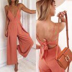New coral V neck backless long wide leg jumpsuit strap orange romper autumn fall