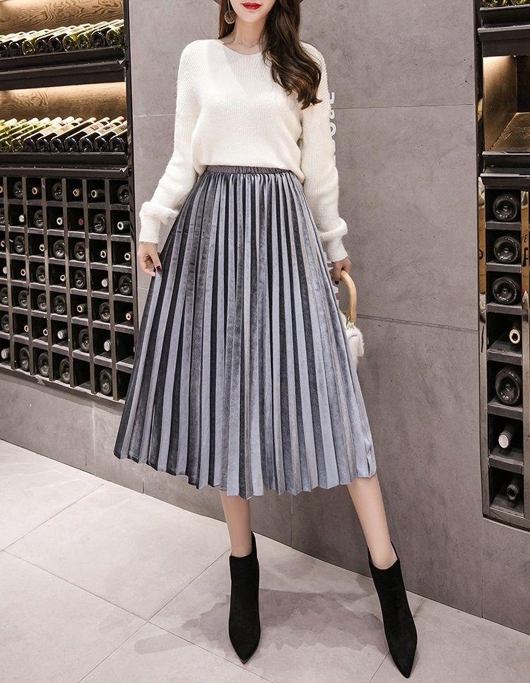 New grey pleated velvet gray midi length women skirt metallic autumn fall winter